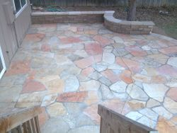 Buff Flagstone patio complete