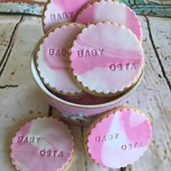 Baby Shower pink & white marble biscuits