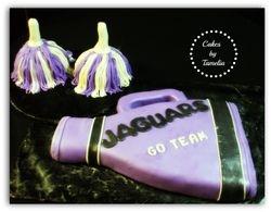 megaphone and pom poms  cake