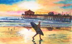 Huntington Beach Sunset Surfer