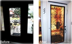 Window privacy film installation; before & after