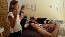 Practicing a full Reiki treatment