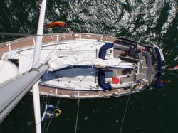 Looking down from up the mast!