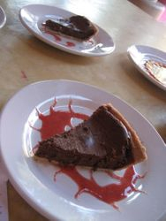Chocolate Tart with Strawberry Coulis