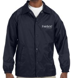 Lined Jackets, Navy Blue.  Nylon Shell + Polyester Lining - Water Resistant - Elastic Cuffs - Snap Opening