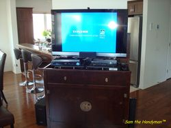 TV lift cabinet install Sam the Handyman Montreal