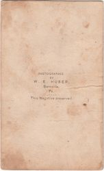 W. E. Huber, photographer of Bernville, Pennsylvania - back