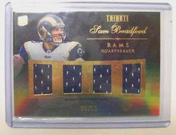 2010 Sam Bradford Topps Tribute 1/1 #8/15 RC 4 Jersey!!      Enlarge  Sell one like this   2010 Sam Bradford Topps Tribute 1/1 #8/15 RC 4 Jersey!!