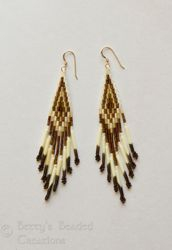 Stacked Bugle Bead & Seed Bead Earrings with Red Bay Labrador Quills