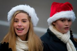 Sisters Emily and Grace Garven at the Santa Parade