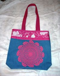 Handbag with pink doily -SOLD