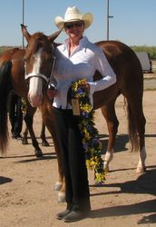 Karen Wendell shoing Grand Champion Mare Zip's Little Miracle