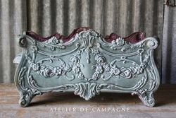 #24/080 FRENCH CAST IRON JARDINIERE ENAMELED