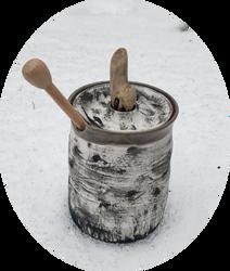Aspen Honey Pot ~ with driftwood knob