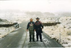 1998 Two happy chappies - Henning and Adrian Kuiters, Rules Point Road, Sunday afternoon.  Monday was fine