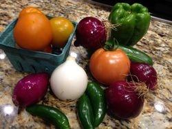 Heirloom Tomatoes, Bell Pepper, Jalapeños, Cucumber, Onions