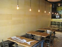 Wall panelling, table tops and Chef's counter