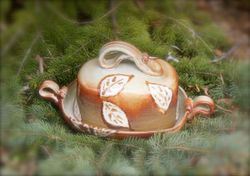 """Falling Leaves"" Butter Dish"