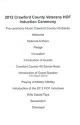 2012 Crawford County Veterans HOF Induction Ceremony