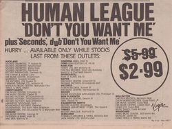 Virgin Records NZ Outlets 1982.