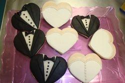 fondant covered bride/groom wedding cookie favors $6 each