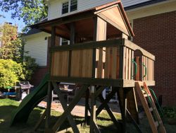 Backyard Discovery Eagles Nest Elite Swing Set installation in mclean Virginia