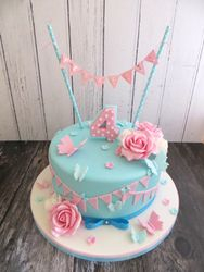 Rose and Bunting 4th Birthday Cake