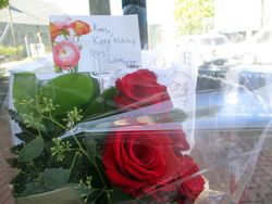Head of Bouquet of Flowers for Lying in Repose of Associate Supreme Court Justice Ruth Bader Ginsburg Outside Republic Seafood Restaurant