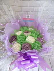 White, green and purple cupcake bouquet
