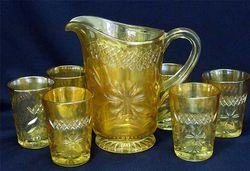 Diamond & Daisy Cut 7 pc. water set - marigold