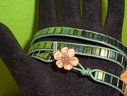 Green Leather Wrap Tila