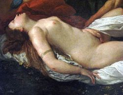 Poussin, Landscape with Satyr Uncovering Sleeping Nymph, detail