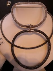 Silver Mesh Bracelets and Necklace