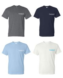 T-Shirts. Heavyweight, 50/50. Dark Heather, Navy Blue, Light Blue and White.