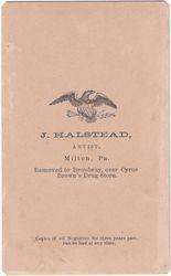 J. Halstead, photographer of Milton, Pennsylvania - back
