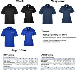 Polo-Shirts, 100% Polyester Dri-Fit  |  Men's + Ladies' Sizing | Silk-Screen Logo  | UV Protection | Moisture-wicking
