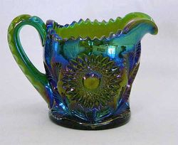 Hobstar and Feather creamer, green