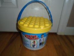 Kids@Work Bucket of Blocks, 20 Building Blocks with Storage Bucket - $10
