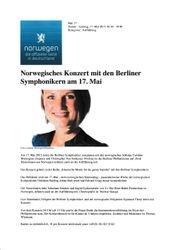 Norwegisches Konzert mit den Berliner Symphonikern am 17. Mai