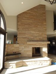 Buff strip stone Fireplace near Boulder Colorado