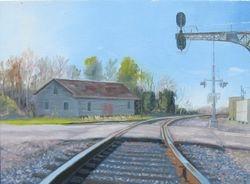 """Gordonsville Tracks, mini, oil/panel, 6"""" x8"""""""