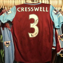 Aaron Cresswell worn, squad signed 2015/!6 home shirt.