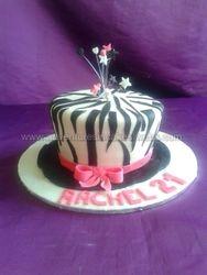 zebra top hat cake