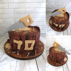 70th birthday timber themed cake