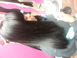 Full sew in with  straight bang