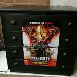 Call of duty decoupaged chest of drawers