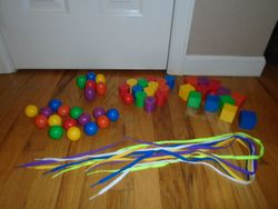 Giant Plastic Beads and Laces - $11