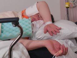 Ben around 8:00am, post-procedure, sleeping off the general anaesthetc.