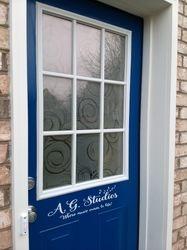 Blue door and custom vinyl