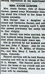 Garner, Annie Garner Kyper 1933